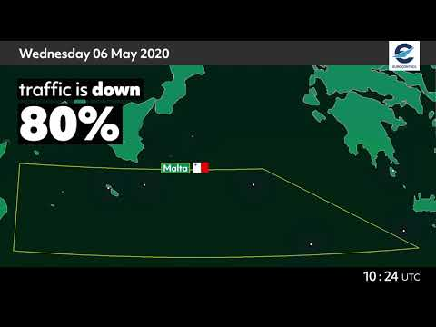 Air traffic situation over Malta - 6 May 2020 vs 8 May 2019