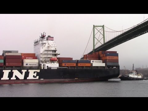Container Ship NYK RIGEL Inbound Under MacKay Bridge - Port of Halifax (Mar 22, 2017)