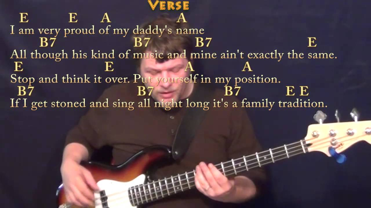 Family Tradition HANK jR. Bass Guitar Cover Lesson with Chords/Lyrics