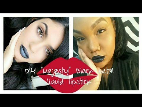 KYLIE JENNER (DIY) Black Metal Matte Lipstick Makeup tutorial