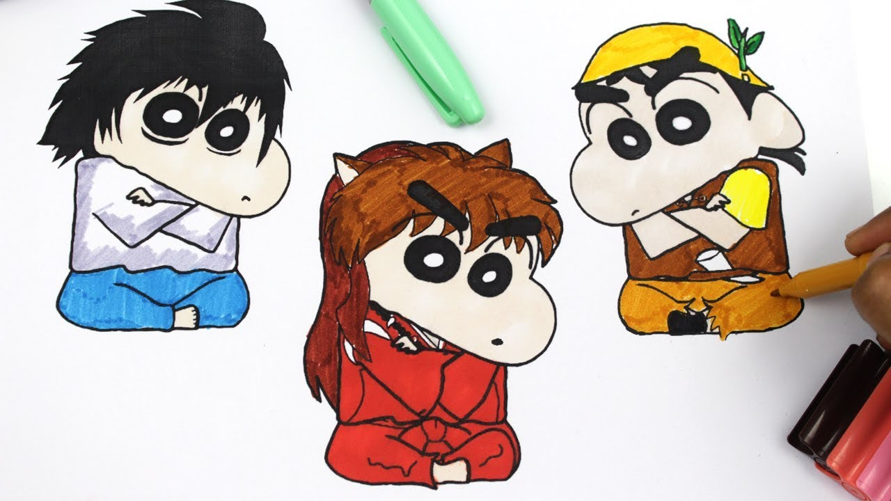 coloring shin chan and action kamen shin chan colouring pages for