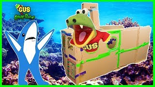 SUBMARINE BOX FORT CHALLENGE! Family Fun Kids Pretend builds  GIANT BOX FORT!! thumbnail