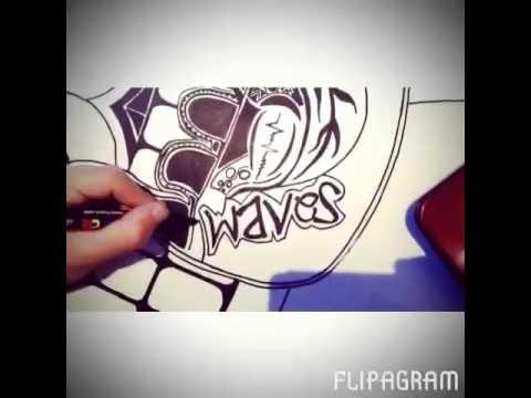 dessin sur planche de surf posca