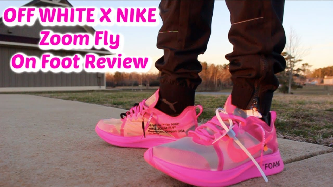 9c5f52cc0d23d4 OFF WHITE X NIKE ZOOM FLY TULIP PINK ON FEET REVIEW - YouTube