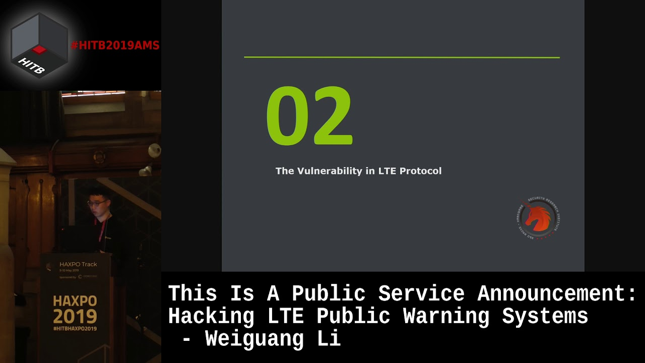 #HITBHaxpo D1 - Hacking LTE Public Warning Systems - Weiguang Li