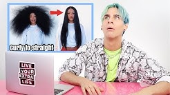 HAIRDRESSER REACTS TO SATISFYING CURLY TO STRAIGHT HAIR VIDEOS!