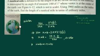 Trig word problems, finding length of a nautical mile