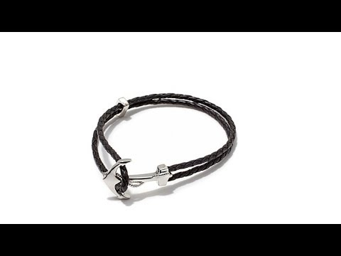 Mateo Bijoux Black Leather Anchor Bracelet