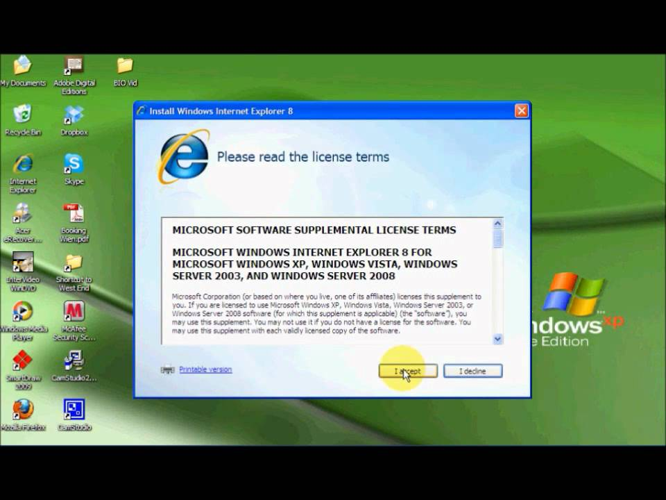 Updating internet explorer for windows xp