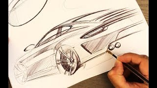 Porsche Sketching with Cheap Pen and Print Paper