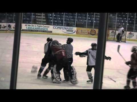 Bench Clearing High-School Hockey Brawl (Plymouth vs. Canton)