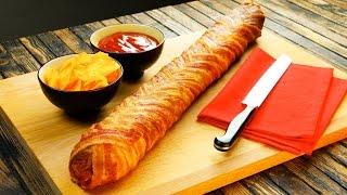 Doppelt hält ja bekanntlich besser: Salami-Baguette im Bacon-Mantel.