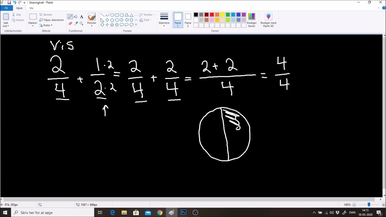 Lektion 4; lær hvordan du lægger brøker sammen med forskellig nævner. level 2