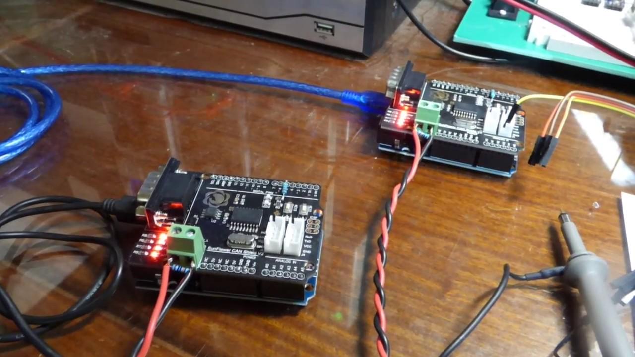 CAN Bus Bidirectional Comm, Dual Arduino Uno, Oscilloscope Trace