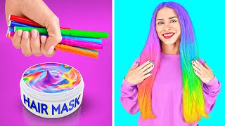 COOL RAINBOW HACKS || Colorful Girly Hacks And DIY Ideas By 123 GO Like!