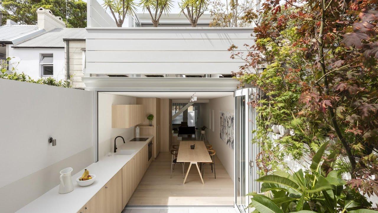 Modern Terraced House Renovation Idea with Double Outdoor ... on Terraced House Backyard Ideas id=99927