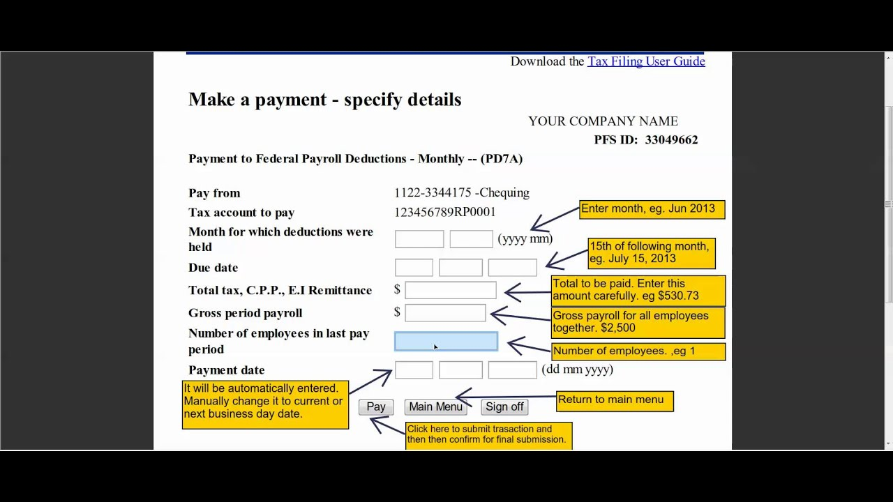 how to submit federal payroll deductions payment to cra youtube