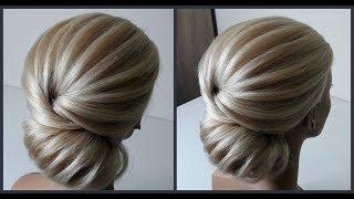 Легкий текстурный пучок.Красивые прически.Detailed training on hairdresses.Beautiful hairstyles.
