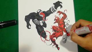 Venom Vs Carnage Brutal Fight Coloring Pages Sailany Coloring Kids Youtube