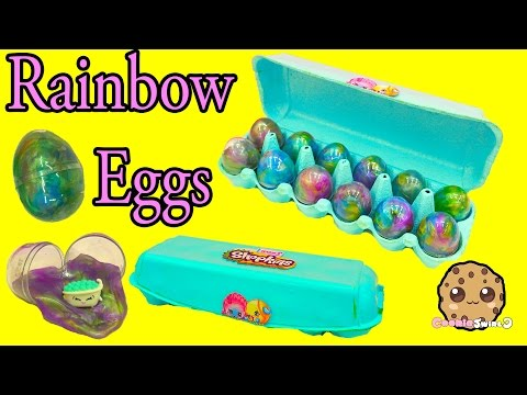 Shopkins Season 5 Petkins Blind Bags + Surprise Rainbow Goo Egg Carton Unboxing - Cookieswirlc