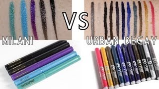LIQUID LINER SMACKDOWN!!! Milani Ultra Fine VS Urban Decay 24/7 Waterproof Liquid Liners