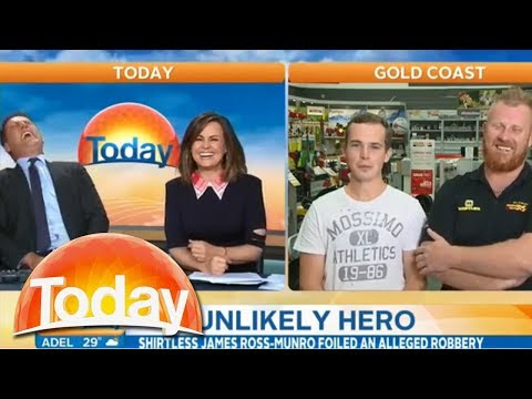 Most Aussie guys ever foil robbery despite a 'busted plugger'