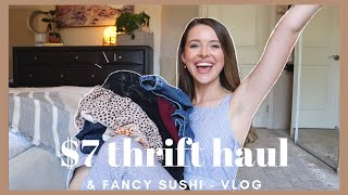 VLOG Trying on a 7 Thrift Haul FANCY sushi New TV Day in my Life