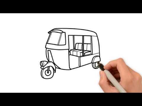 HOW TO DRAW AN AUTO RICKSHAW