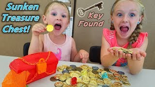 Sunken Treasure Found at Bottom of Pool! Locked Chest Key Inside!!!