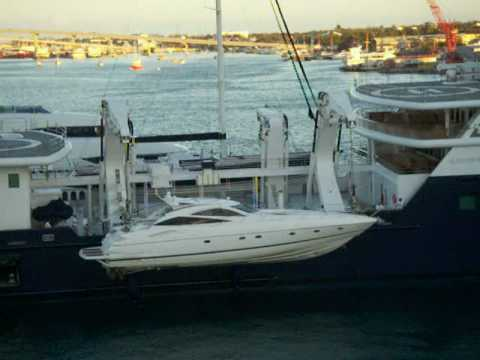 Le Grand Bleu Loading Its Tender Yacht Part 1 Youtube