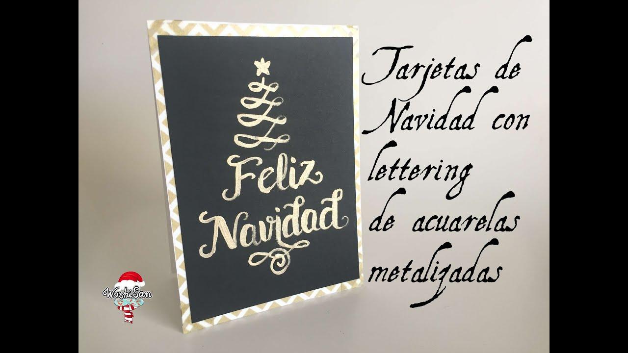 tarjetas de navidad lettering con acuarelas metalizadas
