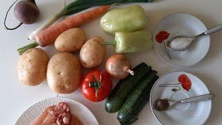 Легко готовить  на раз ,два, три.Курица запеченная с овощами Простые рецепты для готовки