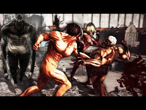 Attack on Titan Wings of Freedom Eren vs Annie,Reiner,Bertholdt and Beast Titan 99+Perfected Gear