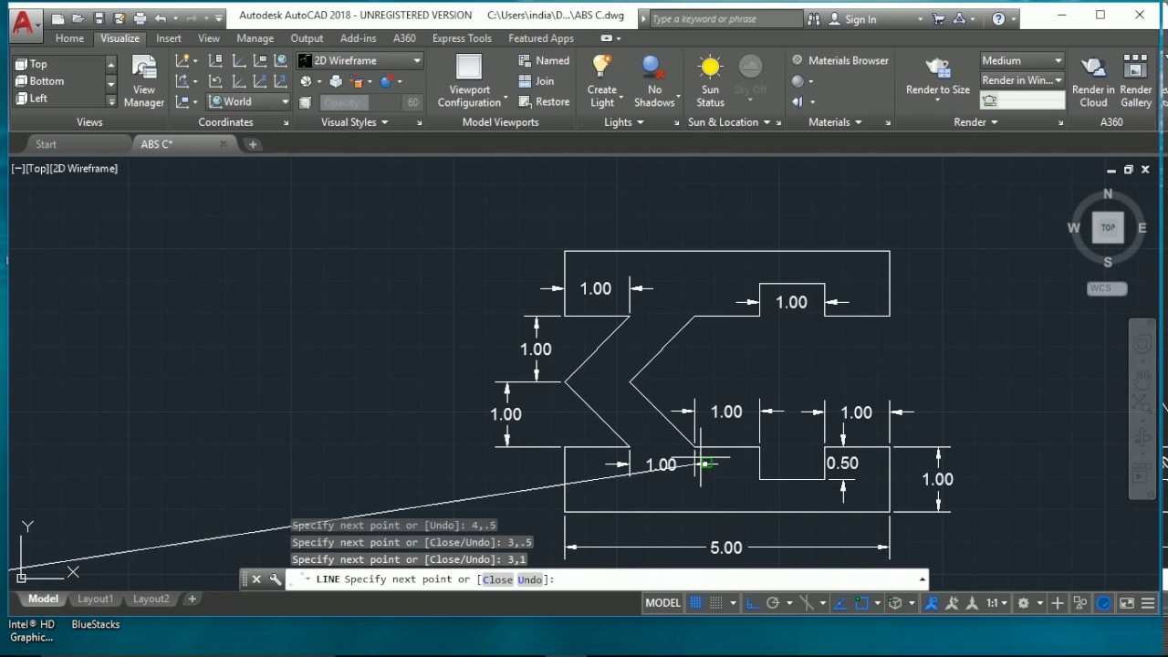 Drawing Lines In Autocad Using Coordinates : How to draw autocad by using absolute coordinate system