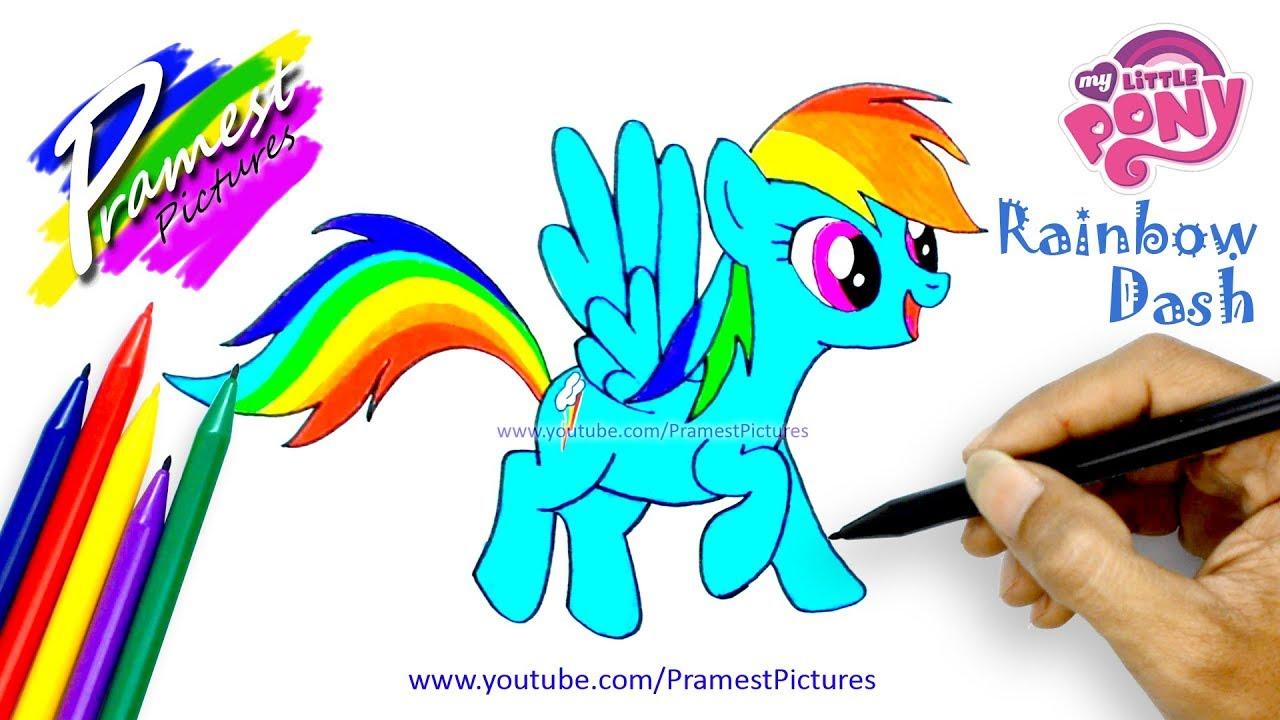 Rainbow Dash Cara Menggambar Dan Mewarnai Gambar Kartun Kuda Poni Untuk Anak Anak Youtube