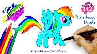 Rainbow Dash | Cara Menggambar Dan Mewarnai Gambar Kartun Kuda Poni untuk Anak-anak