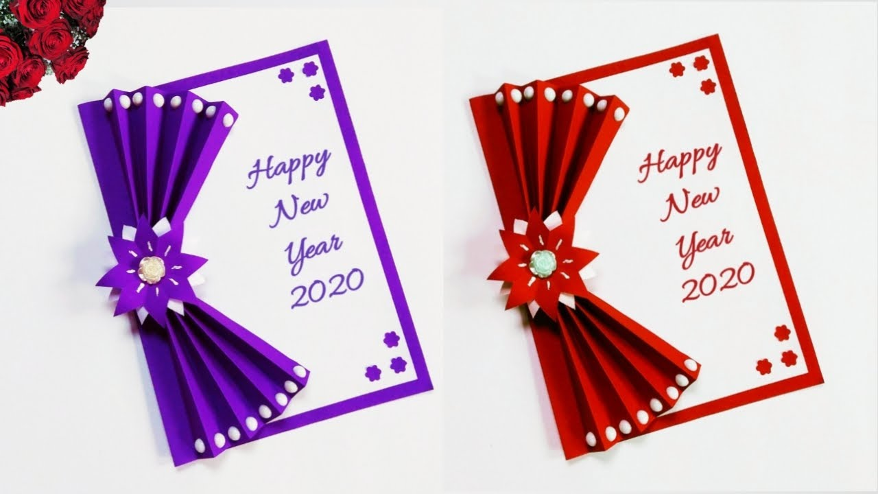 happy new year card 2020  how to make new year greeting