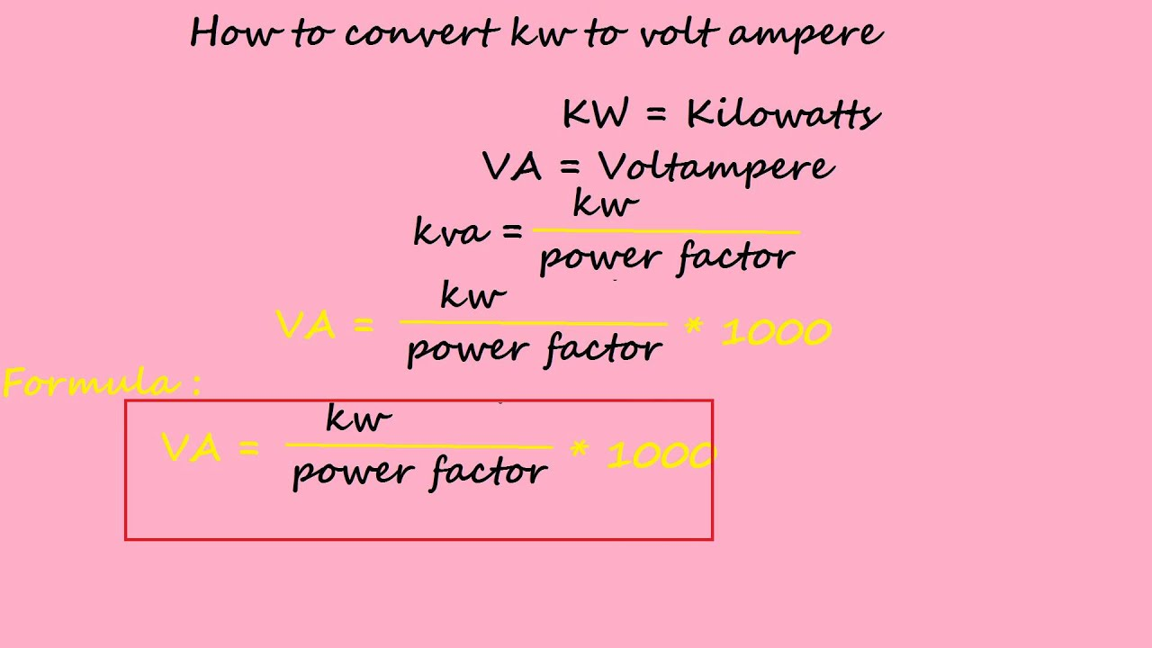 How to convert kw to volt ampere electrical formulas youtube geenschuldenfo Choice Image