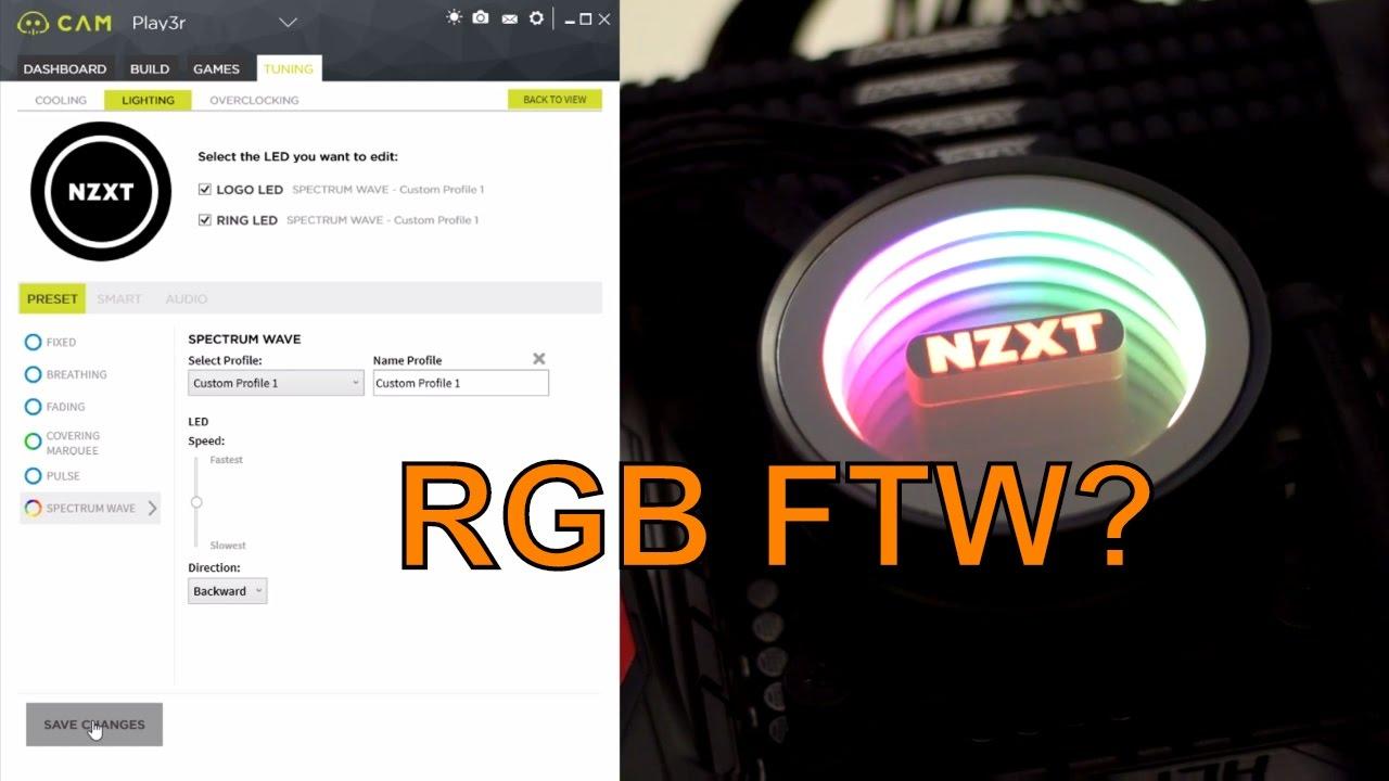 NZXT Kraken X42, X52 & X62 RGB Demonstration With NZXT CAM Software - RGB  FTW!