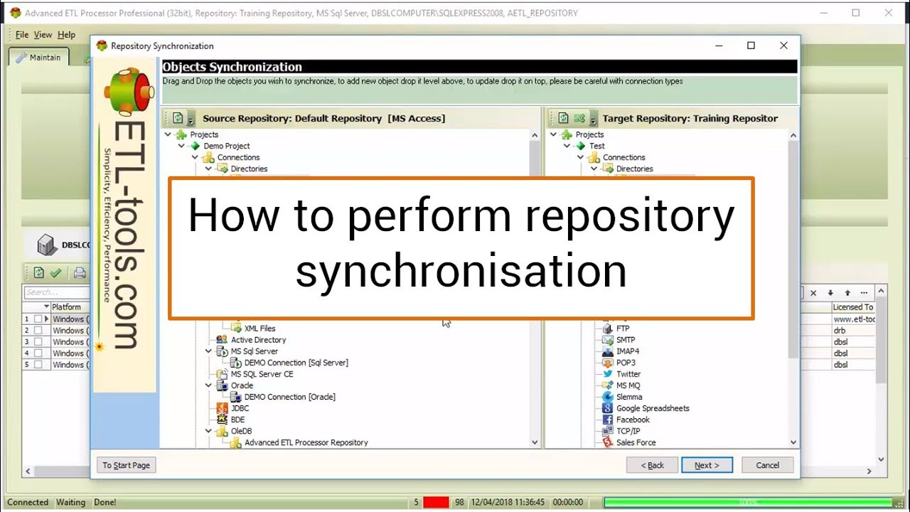 Advanced ETL Processor : How to perform repository synchronisation