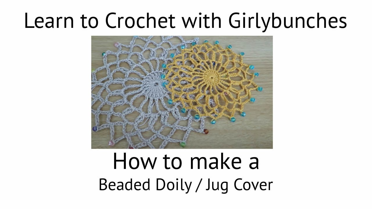 Free Crochet Patterns For Jug Covers : Beaded Doily / Jug Cover Tutorial Girlybunches - YouTube