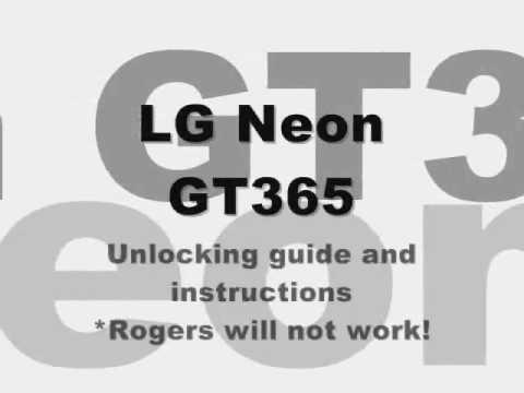 How To Unlock LG Neon GT365 TE365 By Code, Cingular At&t ATT Fido Unlocking Instructions Guide