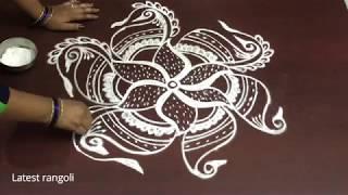 latest flower peacock rangoli design with 3x2 middle dots || creative beautiful rangoli design