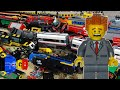 Lego train crash with 15 trains results in huge pile of Lego train wrecks!