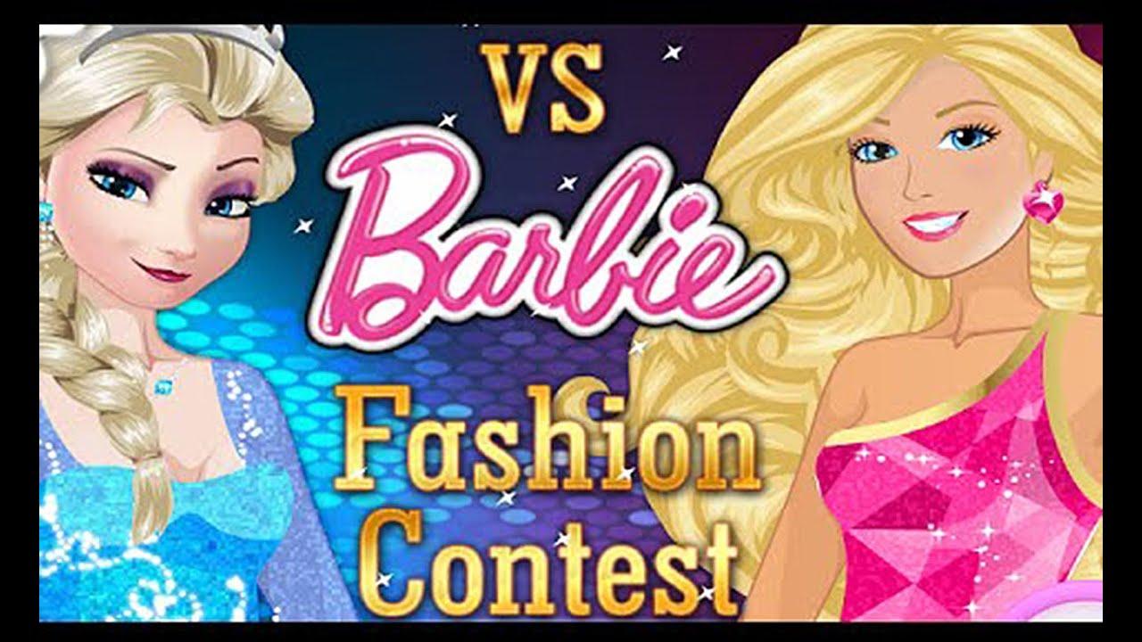 Barbie fashion games dress up games -  Elsa Vs Barbie Fashion Contest Dress Up Game Celebrities Youtube