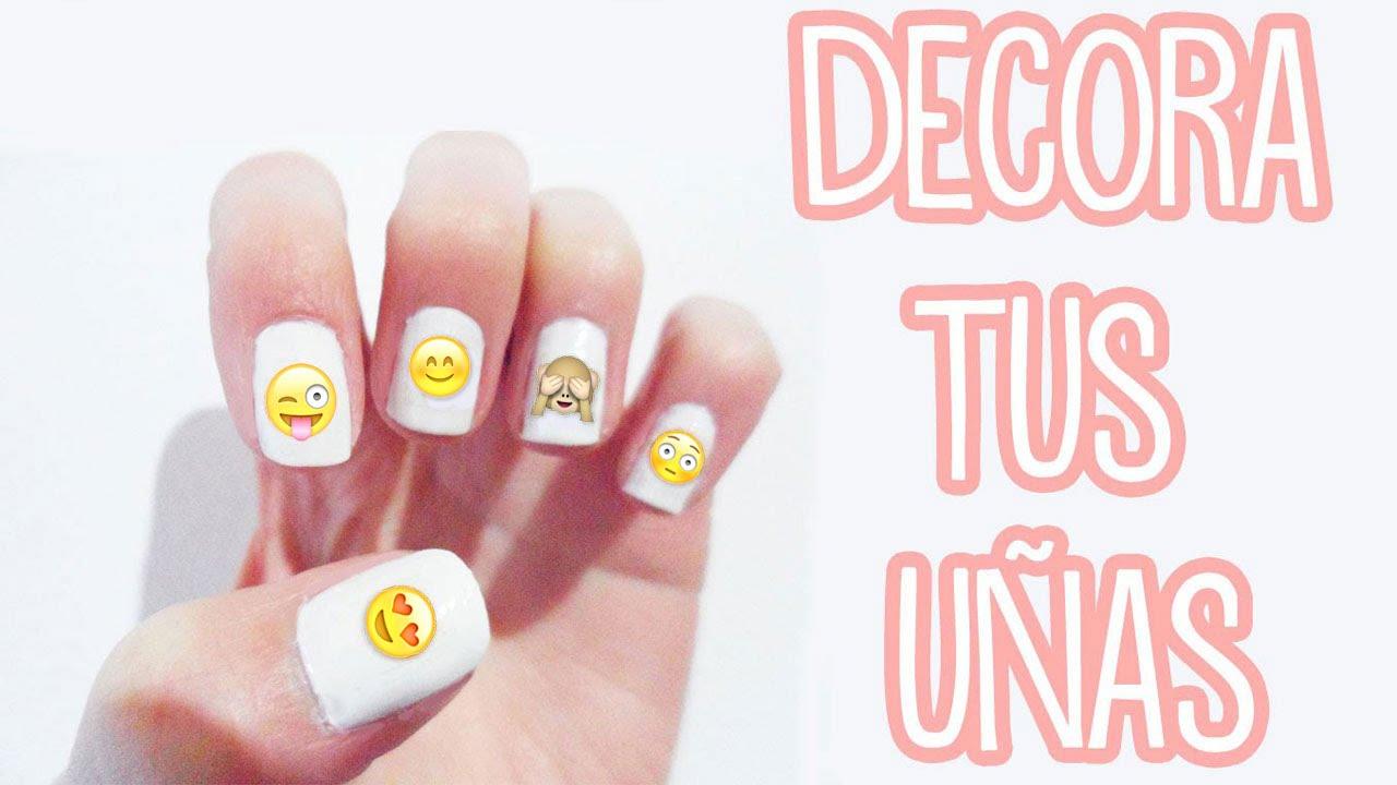 Haz stickers adhesivos para u as idea para decorar tus u as con emojis tutoriales belen - Pegatinas para decorar ...