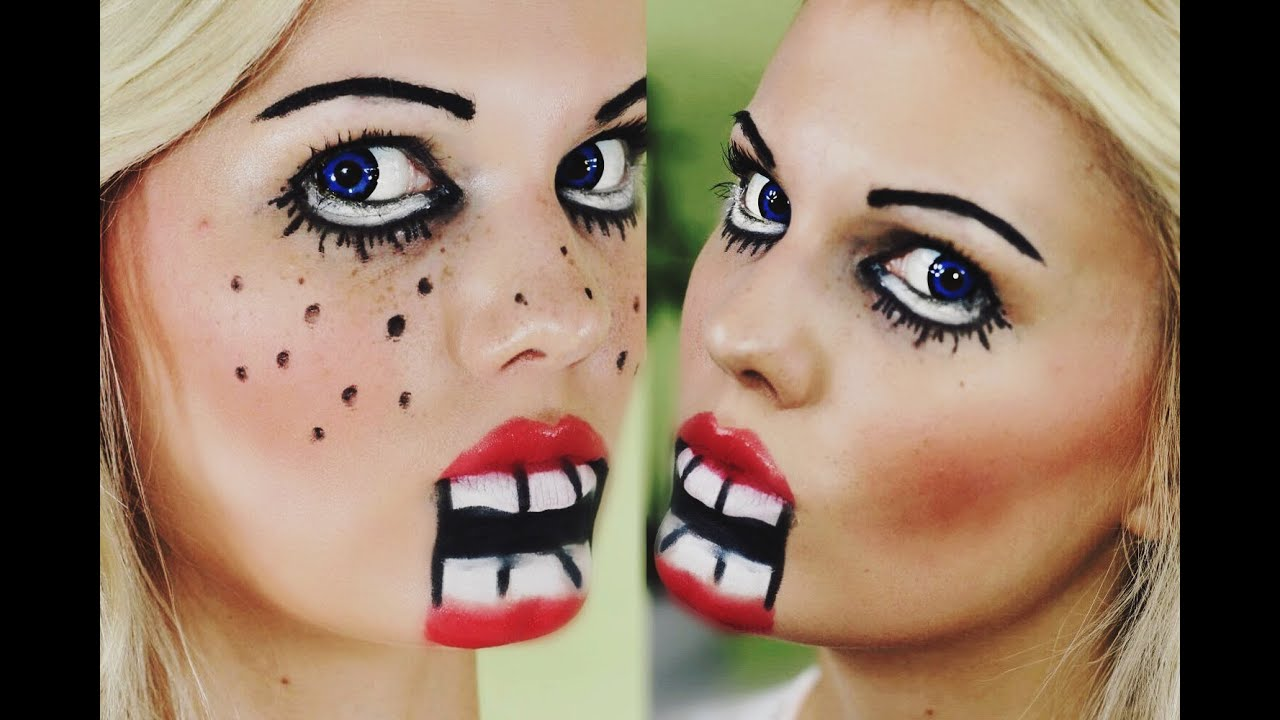 einfaches schnelles halloween make up psycho puppe youtube