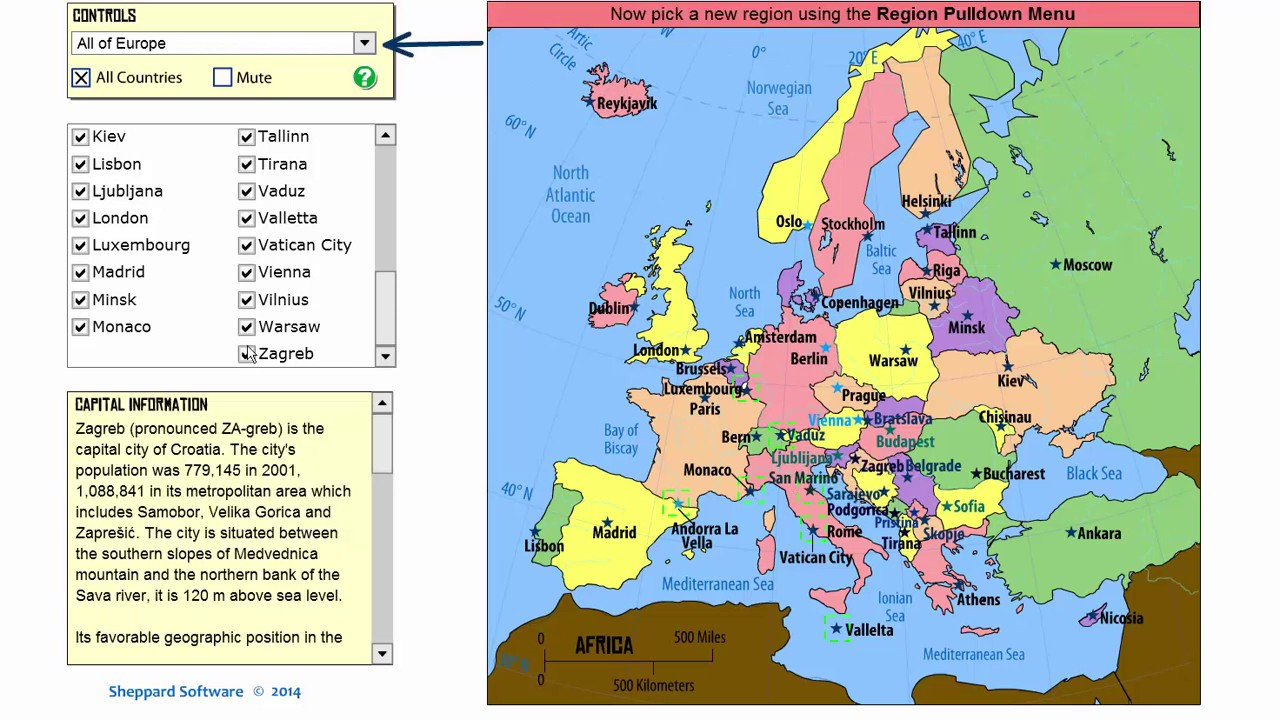 Learn the European Capitals! Geography Tutorial Game - Learning Level