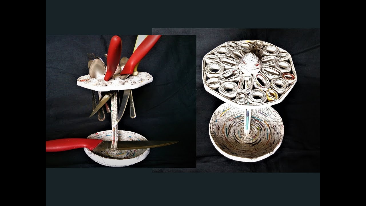 How To Make Spoon U0026 Knife Holder With Newspaper / DIY Spoon Stand / DIY Knife  Stand /