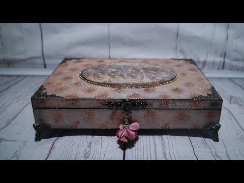 #47 DECOUPAGE- VINTAGE BOX WITH ANGELS / TUTORIAL DIY / DECOUPAGE WOOD / DECOUPAGE ON WOODEN BOX
